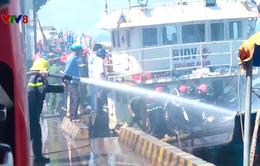 Tàu cá bốc cháy ngùn ngụt khi đang neo tại cảng Hòn Rớ