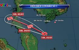 Bão số 1 gây mưa to và gió mạnh ở nhiều vùng biển phía Nam