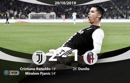 Juventus 2 - 1 Bologna: Ronaldo lập công, Juve củng cố ngôi đầu (Vòng 8 Serie A 2019-2020)