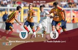 Vắng Ronaldo, Juventus bị Lecce cầm hòa