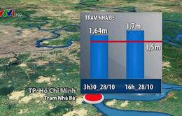 Hôm nay (28/10), triều cường tại TP.HCM tiếp tục vượt mức báo động 3
