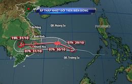 Chiều tối mai (30/10), bão đổ bộ vào khu vực Trung Bộ