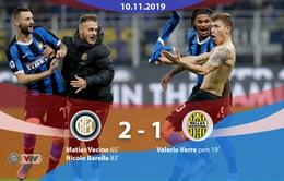 Inter Milan 2-1 Verona: Thắng kịch tính, Inter tạm vươn lên giữ ngôi đầu Serie A