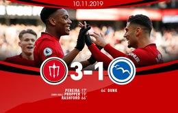 """Man Utd 3-1 Brighton: """"Quỷ đỏ"""" tìm lại niềm vui chiến thắng"""