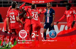 Dijon 2-1 PSG: Paris Saint-Germain thua sốc đội bóng chót bảng