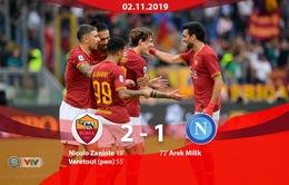 Roma 2-1 Napoli: Tiến vào top 3