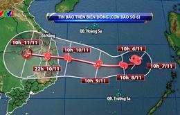 Bão số 6 sẽ đổi hướng di chuyển về phía đất liền Nam miền Trung