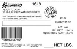 Mỹ thu hồi hơn 900 tấn gà nghi nhiễm kim loại