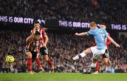 Man City 2-0 Sheffield Utd: De Bruyne, Aguero lên tiếng, nhà vô địch vượt ải khó