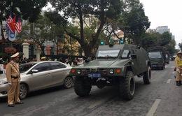 Dàn xe đặc chủng và CSGT phục vụ Hội nghị thượng đỉnh Mỹ - Triều diễu hành trên phố Hà Nội