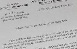 Ban Tôn giáo Chính phủ yêu cầu xác minh thông tin chùa Ba Vàng truyền bá vong báo oán