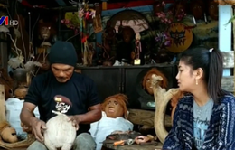 Độc đáo nghệ thuật điêu khắc trên quả dừa khô