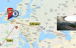 Arsenal và Chelsea phải bay nối chuyến hơn 9.000km dự chung kết Europa League