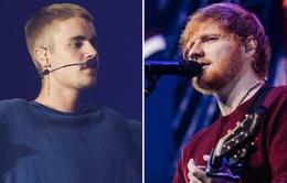 """Những thành tích """"vô tiền khoáng hậu"""" của hoàng tử nhạc pop Ed Sheeran và Justin Bieber"""