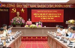 Đồng chí Trương Thị Mai làm việc với Tỉnh ủy Vĩnh Phúc