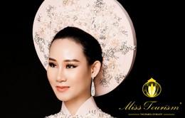 Cận cảnh chiếc áo dài người đẹp Phạm Lan Anh tranh tài tại cuộc thi Hoa hậu Du lịch Thế giới 2019