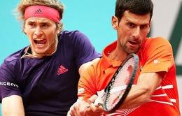 Hạ Zverev sau 3 set chóng vánh, Djokovic vào bán kết Pháp mở rộng