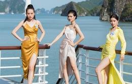 Dàn thí sinh Miss World Vietnam tự tin catwalk trên du thuyền ở Vịnh Hạ Long