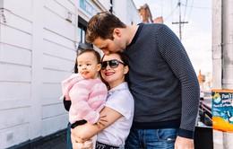 Lan Phương và con gái bé nhỏ bên người chồng cao lớn