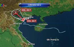 Bão số 2 đổ bộ vào khu vực Hải Phòng - Nam Định, mạnh cấp 8, giật cấp 11