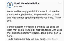 Bộ Ngoại giao chỉ đạo Đại sứ quán Việt Nam tại Anh theo dõi vụ du khách mất tích