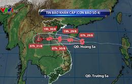 Bão số 4 di chuyển nhanh, hoàn lưu bão gây mưa ở miền Trung