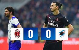 AC Milan 0-0 Sampdoria: Màn ra mắt chưa trọn vẹn của Ibra