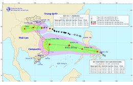 Áp thấp nhiệt đới đi sâu vào đất liền và suy yếu ở khu vực Thượng Lào