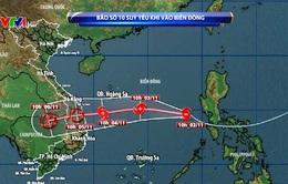 Bão số 10 hướng về miền Trung, suy yếu khi đi vào biển Đông