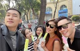 Thúy Diễm, Võ Cảnh tranh thủ tụ tập bạn bè khi ra Hà Nội