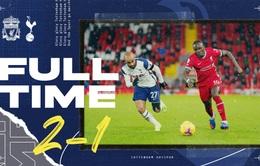 Thắng phút cuối, Liverpool vượt qua Tottenham để dẫn đầu Ngoại hạng Anh