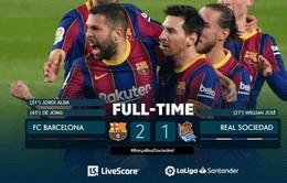 Barca 2-1 Real Sociedad: Messi không ghi bàn, Barcelona vẫn đánh bại đội dẫn đầu La Liga