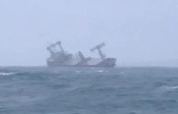 Một tàu hàng đang chìm ngoài khơi biển Bình Thuận