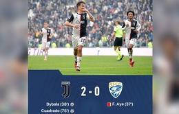 Juventus 2-0 Brescia: Chiến thắng trong ngày vắng Ronaldo