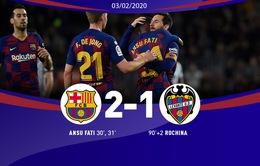 Vòng 22 VĐQG Tây Ban Nha, Barcelona 2-1 Levante: Chiến thắng quan trọng của Messi và đồng đội