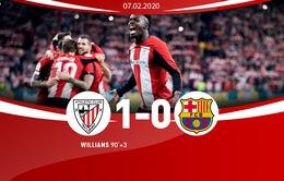 Tứ kết Cúp Nhà vua Tây Ban Nha, Athletic Bilbao 1-0 Barcelona: Messi và đồng đội chia tay Cúp Nhà vua