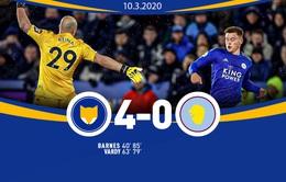 Leicester City 4-0 Aston Villa: Thắng đậm, Leicester củng cố ngôi vị thứ 3 Ngoại hạng Anh