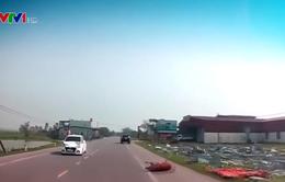 Tông trúng bò băng qua đường, ô tô con móp đầu