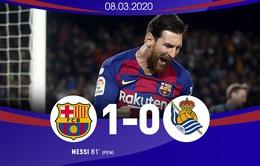 Barcelona 1-0 Real Sociedad: Chiến thắng nhọc nhằn, tạm chiếm ngôi đầu