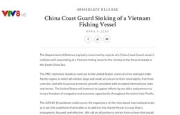 Bộ Quốc phòng Mỹ lên án Trung Quốc đâm chìm tàu cá Việt Nam ở Biển Đông