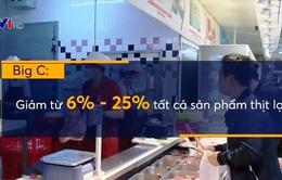 Các siêu thị đồng loạt giảm giá thịt lợn