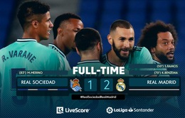 Sociedad 1-2 Real Madrid: Thắng nghẹt thở, Real đòi ngôi đầu từ tay Barcelona