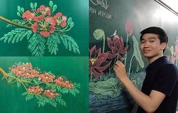 """Thầy giáo 9X vẽ hoa phượng trên bảng phấn """"gây sốt"""" cộng đồng mạng"""