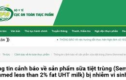 Cảnh báo lô sữa Semi-Skimmed less than 2% fat UHT milk của Anh nhiễm vi sinh vật