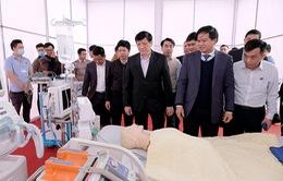 Bộ trưởng Bộ Y tế kiểm tra công tác chuẩn bị diễn tập y tế phục vụ Đại hội Đảng XIII
