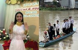 Đám cưới Á hậu Thúy An: Chú rể đi xuồng, cô dâu đeo vàng trĩu cổ