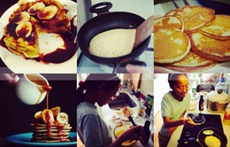 Bữa sáng ngon với Pancake chocolate chuối