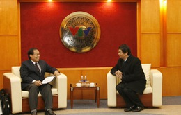 Tổng Giám đốc tiếp xã giao Tổng Giám đốc Đài THQG Lào