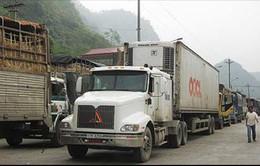 """Xe tải ùn ứ tại cửa khẩu, chủ hàng quyết """"xuất hàng bằng được"""""""