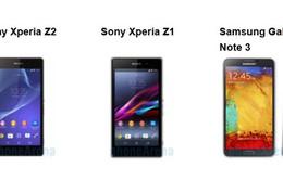 So sánh nhanh Xperia Z2, Xperia Z1 và Note 3